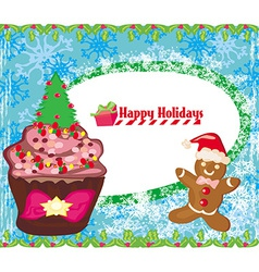 Christmas muffin card vector