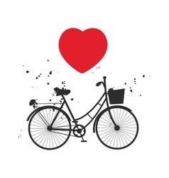 Bicycle silhouette and red heart on white vector