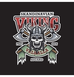 Viking emblem on dark background vector