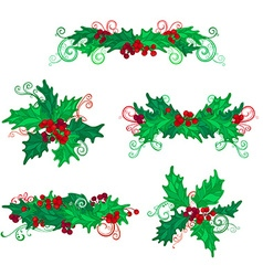 Set of holly berries page decorations and dividers vector