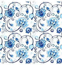 Floral seamless pattern in slavic theme vector image