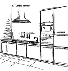 Kitchen interior room sketchy on white vector