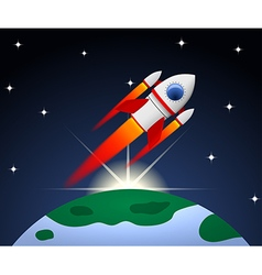 Red and white cartoon steel rocket vector