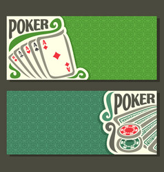 Banner for title pokers gamble game vector
