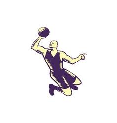 Basketball player dunk ball woodcut vector