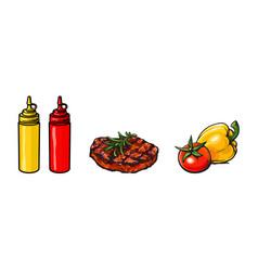 Beef pork steak vegetables ketchup and mustard vector