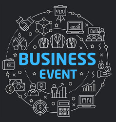 Black line flat circle business event vector