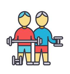 bodybuilders fintess gym strong practice vector image vector image