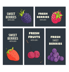Bright fruit cards vector