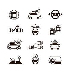 Car self control futuristic driving intelligent vector