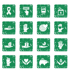 Charity icons set grunge vector