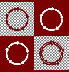 Circular arrows sign bordo and white vector