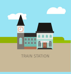 colored train station building vector image