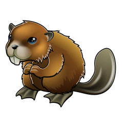 cute beaver vector image