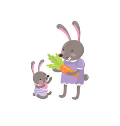 cute bunnies characters mother and little baby vector image