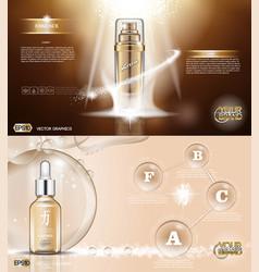 digital golden glass bottle spray vector image vector image