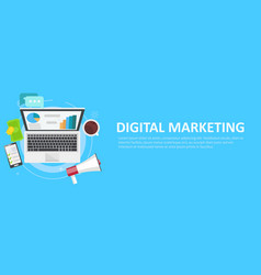 digital marketing banner computer with graphs vector image