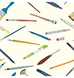 Drawing tools doodle sketch seamless vector image vector image