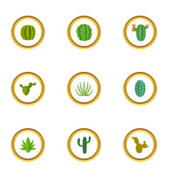 green cactus icons set cartoon style vector image