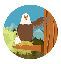 Happy Eagle on the Tree flat Background vector image vector image