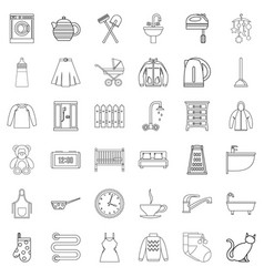 home icons set outline style vector image vector image