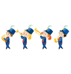 Kids in school band wearing blue uniform vector