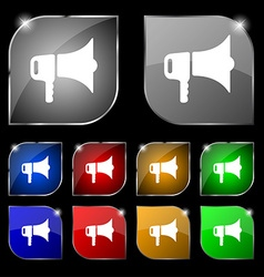 Megaphone icon sign set of ten colorful buttons vector
