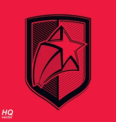 military shield with pentagonal comet star vector image