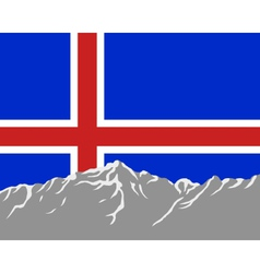 mountains with flag of iceland vector image
