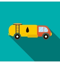 Oil tank truck icon flat style vector image