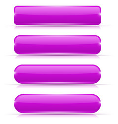 purple glass buttons set of long rectangular web vector image vector image