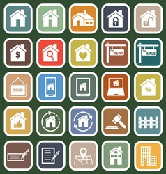 Real estate flat icons on green background vector