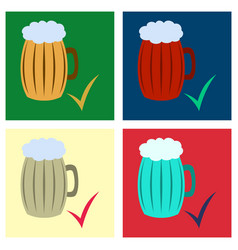 set of beer in glass cup refreshing drink with vector image
