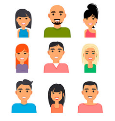 set of people portrait face icons web avatars in vector image vector image