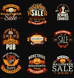 Set of Vintage Happy Halloween Badges Stickers vector image vector image