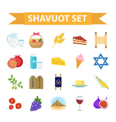 Shavuot icons set flat style collection design vector
