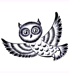 Silhouette of a flying owl vector