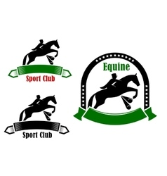 Sporting emblems of equestrian club vector