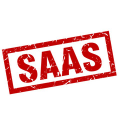 square grunge red saas stamp vector image vector image