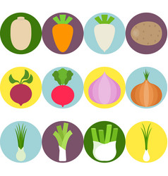 Vegetables flat icons set 3 vector