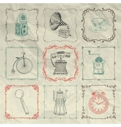 Vintage icons and objects on crumpled paper vector