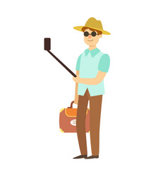 Young man with suitcase taking photos with vector
