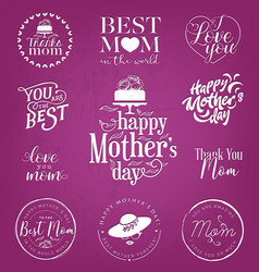 Mothers day design elements badges and labels vector