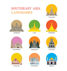 asean southeast asia landmark set vector image