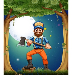 A woodman standing in the middle of the trees vector