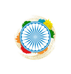 Ashok chakra in indian tricolor background vector