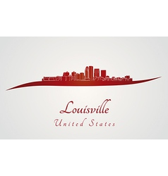 Louisville skyline in red vector