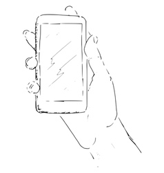 Hand with smartphone vector