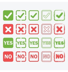 Check mark crossed yes and no signs icons set vector