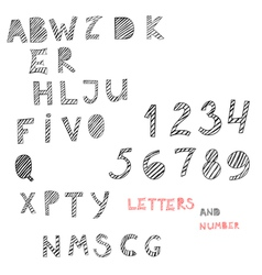 hand drawn letters and numbers vector image